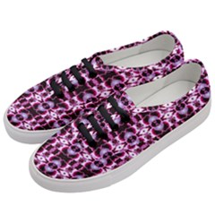 Purple White Flower Abstract Pattern Women s Classic Low Top Sneakers by Costasonlineshop
