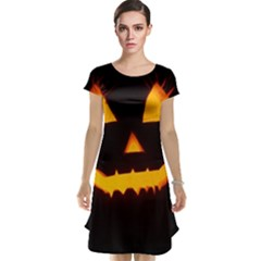 Pumpkin Helloween Face Autumn Cap Sleeve Nightdress