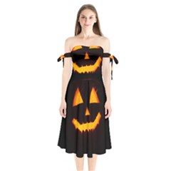 Pumpkin Helloween Face Autumn Shoulder Tie Bardot Midi Dress