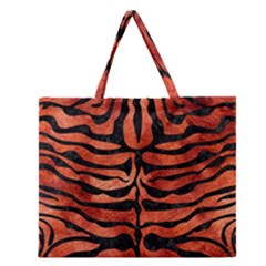 Skin2 Black Marble & Copper Paint Zipper Large Tote Bag by trendistuff