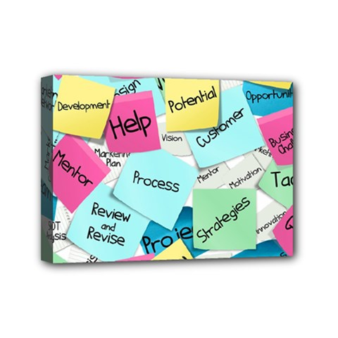 Stickies Post It List Business Mini Canvas 7  X 5  by Celenk