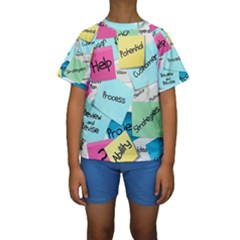 Stickies Post It List Business Kids  Short Sleeve Swimwear by Celenk