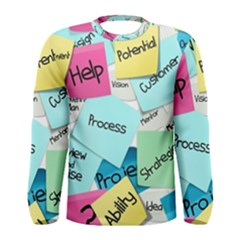 Stickies Post It List Business Men s Long Sleeve Tee by Celenk