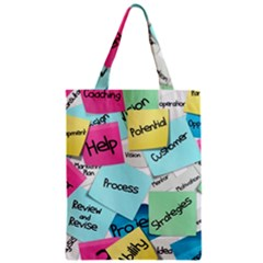 Stickies Post It List Business Zipper Classic Tote Bag by Celenk