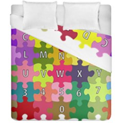 Puzzle Part Letters Abc Education Duvet Cover Double Side (california King Size) by Celenk