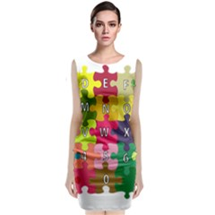 Puzzle Part Letters Abc Education Classic Sleeveless Midi Dress