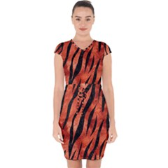 Skin3 Black Marble & Copper Paint Capsleeve Drawstring Dress