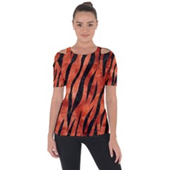 Skin3 Black Marble & Copper Paint Short Sleeve Top