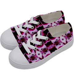 White Burgundy Flower Abstract Kids  Low Top Canvas Sneakers by Costasonlineshop