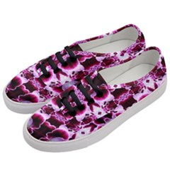 White Burgundy Flower Abstract Women s Classic Low Top Sneakers by Costasonlineshop