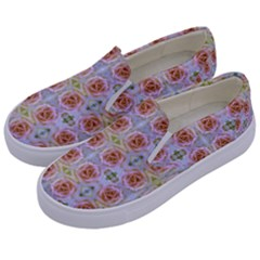 Pink Light Blue Pastel Flowers Kids  Canvas Slip Ons by Costasonlineshop