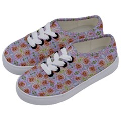 Pink Light Blue Pastel Flowers Kids  Classic Low Top Sneakers by Costasonlineshop