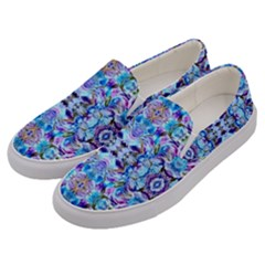 Elegant Turquoise Blue Flower Pattern Men s Canvas Slip Ons by Costasonlineshop