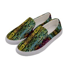 Abstract, Yellow Green, Purple, Tree Trunk Women s Canvas Slip Ons by Costasonlineshop