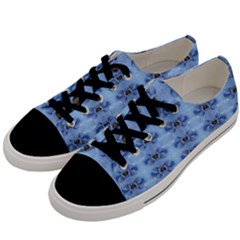 Pastel Blue Flower Pattern Men s Low Top Canvas Sneakers by Costasonlineshop