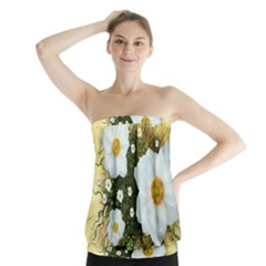 Summer Anemone Sylvestris Strapless Top by Celenk