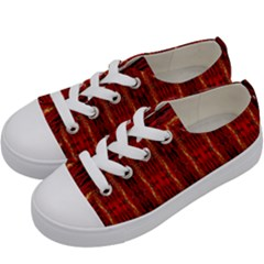 Red Gold, Old Oriental Pattern Kids  Low Top Canvas Sneakers by Costasonlineshop