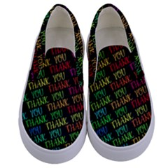 Thank You Font Colorful Word Color Kids  Canvas Slip Ons