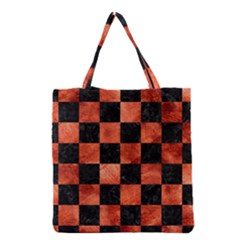 Square1 Black Marble & Copper Paint Grocery Tote Bag by trendistuff