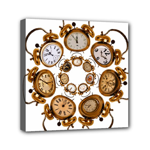 Time Clock Alarm Clock Time Of Mini Canvas 6  X 6  by Celenk