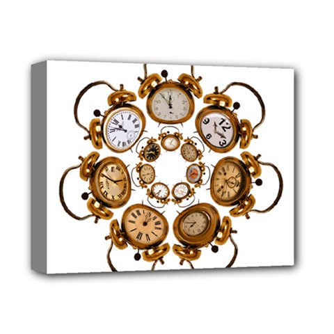 Time Clock Alarm Clock Time Of Deluxe Canvas 14  X 11  by Celenk