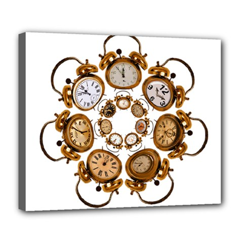 Time Clock Alarm Clock Time Of Deluxe Canvas 24  X 20   by Celenk