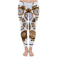 Time Clock Alarm Clock Time Of Classic Winter Leggings by Celenk