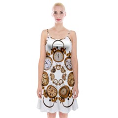 Time Clock Alarm Clock Time Of Spaghetti Strap Velvet Dress by Celenk