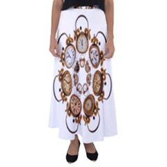 Time Clock Alarm Clock Time Of Flared Maxi Skirt