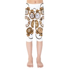 Time Clock Alarm Clock Time Of Kids  Capri Leggings  by Celenk