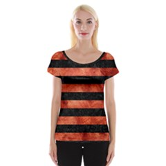 Stripes2 Black Marble & Copper Paint Cap Sleeve Tops