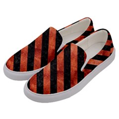 Stripes3 Black Marble & Copper Paint Men s Canvas Slip Ons by trendistuff