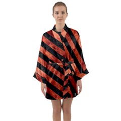 Stripes3 Black Marble & Copper Paint Long Sleeve Kimono Robe