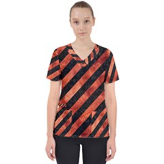 Stripes3 Black Marble & Copper Paint (r) Scrub Top by trendistuff