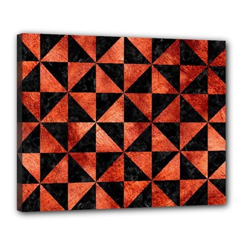 Triangle1 Black Marble & Copper Paint Canvas 20  X 16  by trendistuff