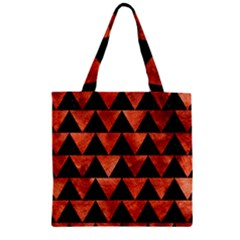 Triangle2 Black Marble & Copper Paint Zipper Grocery Tote Bag by trendistuff