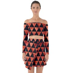 Triangle3 Black Marble & Copper Paint Off Shoulder Top With Skirt Set