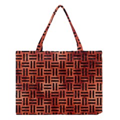 Woven1 Black Marble & Copper Paint Medium Tote Bag by trendistuff