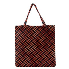 Woven2 Black Marble & Copper Paint (r) Grocery Tote Bag by trendistuff