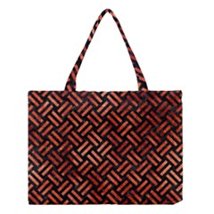 Woven2 Black Marble & Copper Paint (r) Medium Tote Bag by trendistuff