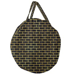 Brick1 Black Marble & Gold Paint (r) Giant Round Zipper Tote