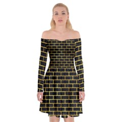 Brick1 Black Marble & Gold Paint (r) Off Shoulder Skater Dress