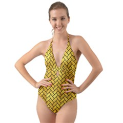 Brick2 Black Marble & Gold Paint Halter Cut Out One Piece Swimsuit