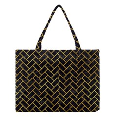 Brick2 Black Marble & Gold Paint (r) Medium Tote Bag by trendistuff