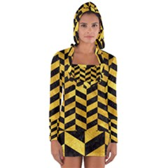 Chevron1 Black Marble & Gold Paint Long Sleeve Hooded T Shirt