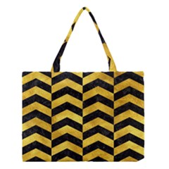 Chevron2 Black Marble & Gold Paint Medium Tote Bag by trendistuff