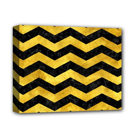 Chevron3 Black Marble & Gold Paint Deluxe Canvas 14  X 11  by trendistuff