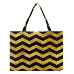 Chevron3 Black Marble & Gold Paint Medium Tote Bag by trendistuff