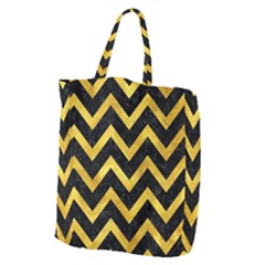 Chevron9 Black Marble & Gold Paint (r) Giant Grocery Zipper Tote by trendistuff