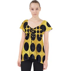 Circles1 Black Marble & Gold Paint Lace Front Dolly Top